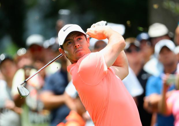 Rory McIlroy of Northern Ireland tees off on the sixth hole during the final round of the BMW South African Open Championship at Glendower Golf Club on January 15, 2017 in Johannesburg, South Africa. (Photo by Warren Little/Getty Images)