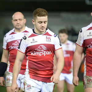 Low point: A dejected Paddy Jackson leads Ulster off the field after being knocked out of Europe in Exeter
