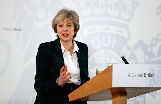 British Prime Minister Theresa May delivers a speech on the government's plans for Brexit at Lancaster House in London (AFP/Getty Images)