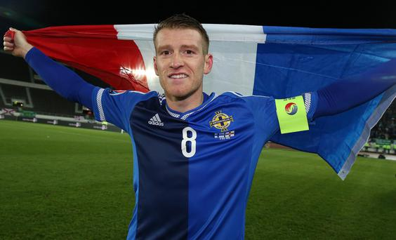 Super skipper: Northern Ireland captain Steven Davis is awarded the 2015 prize