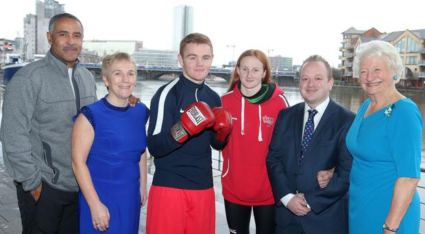Top-class talent: Daley Thompson, Chair of the Trust Eilish Rutherford, Commonwealth Youth Games silver medallist Brett McGinty, Irish Senior champion in 50m, 100m and 200m backstroke Danielle Hill, Alyn Spratt of sponsor Bluefin Sport and Dame Mary Peters