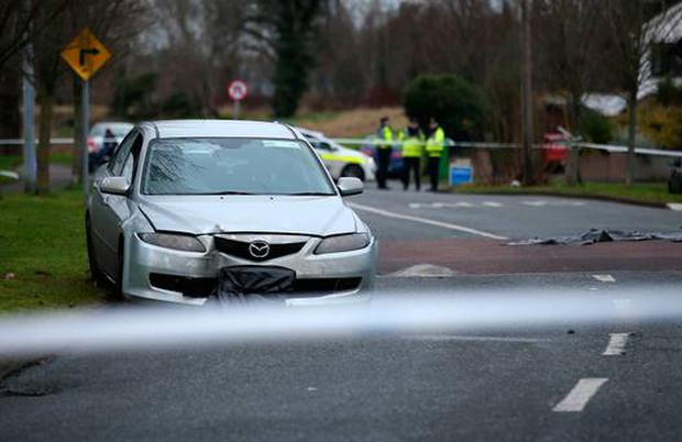 The car which was involved in an incident at The Glebe in Lucan. Picture Credit:Frank McGrath