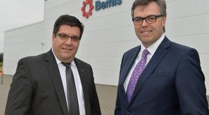 Invest NI chief executive Alastair Hamilton (right) is pictured with Marty Scaminaci, Bemis Company