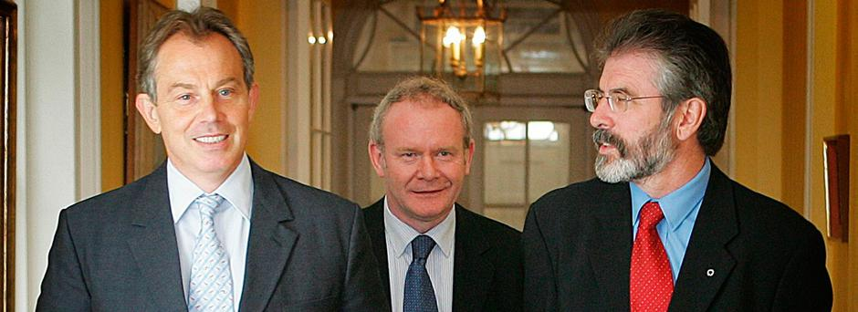 Tony Blair meeting Sinn Fein leader Gerry Adamsand chief negotiator Martin McGuinness in 10 Downing Street.