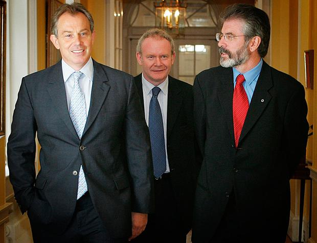 File photo dated 04/08/05 of Prime Minister Tony Blair (left) meeting Sinn Fein leader Gerry Adams (right) and chief negotiator Martin McGuinness in 10 Downing Street. PA