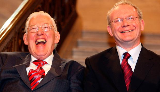 File photo dated 08/05/07 of First Minister Ian Paisley and Deputy First Minister Martin McGuinness smiling after being sworn in as ministers of the Northern Ireland Assembly, Stormont. PRESS ASSOCIATION Photo. Issue date: Thursday January 19, 2017. Mr McGuinness has announced that he is stepping down from elected politics, citing ill health. See PA story ULSTER McGuinness. Photo credit should read: Paul Faith/PA Wire