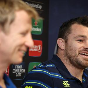 Confident: Leinster coach Leo Cullen and prop Cian Healy (right) in Dublin yesterday ahead of tonight's clash away to Castres