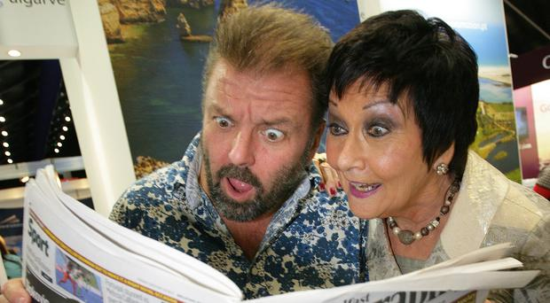 Amazed at the January sales! Travel and Property Celeb Martin Roberts and Belfast Telegraph Holiday World Show Director, Maureen Ledwith are astounded at the deals on offer at the show held at the Titanic Exhibition Centre.