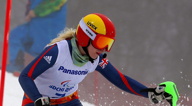 Kelly Gallagher competes for Great Britain in the Women's SC Slalom during the 2014 Paralympic Winter Games in Sochi, Russia