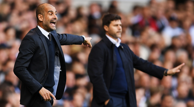 Familiar foes: Pep Guardiola dominated Mauricio Pochettino during their respective tenures of Barcelona and Espanyol, but the latter now has the upper hand on a more level playing field