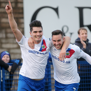 Title goals: Jimmy Callacher (left) with Andy Waterworth, who has signed a contract extension with Linfield