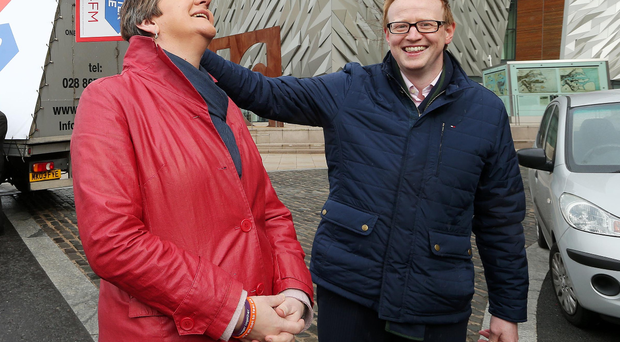Former First Minister Arlene Foster with John Robinson