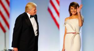 President Donald Trump introduces first lady Melania Trump at the Freedom Inaugural Ball at the Washington Convention Center January 20, 2017 in Washington, D.C. President Trump was sworn today as the 45th U.S. President. (Photo by Aaron P. Bernstein/Getty Images)