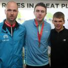 Belfast Telegraph Run Forest Run: Gosford Forest. 5k winners Sam Linton (2nd), Joseph Kennedy (1st) and Mark Cornett (3rd). Picture by Freddie Parkinson