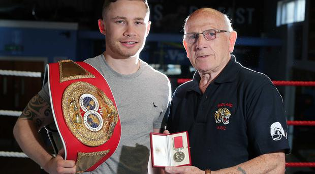Back to his roots: Carl Frampton with his first trainer Billy McKee at Midland Boxing Club