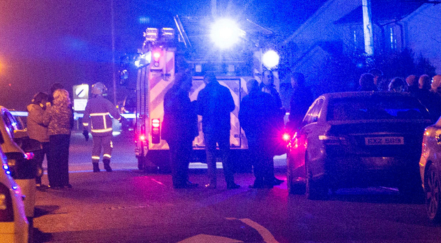 Emergency services at the scene of the blaze in Jonesborough, Co Armagh, last night