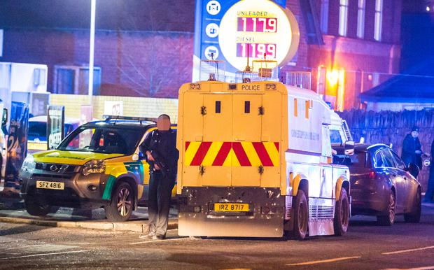 The scene of the shooting at Belfast's Crumlin Road on Sunday night