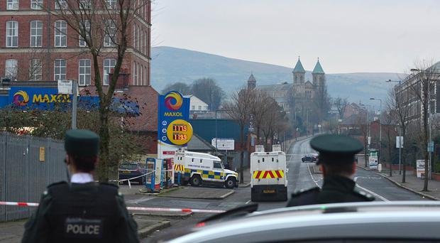 A north Belfast gun attack that injured a PSNI officer was a planned operation with automatic gunfire sprayed across a garage forecourt, the chief constable has said. The attack took place on the Crumlin Road in Belfast. Picture By: Arthur Allison/Pacemaker Press