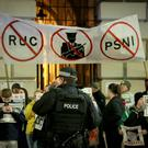 Saoradh alongside RNU hold a protest outside Belfast City Hall on 23rd January 2017 (Photo - Kevin Scott / Belfast Telegraph)