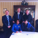 Brazilian flair: Extending a warm Glenavon welcome to new Brazilian signing Renato Devicchi Martins are clockwise from left, treasurer Frazer Follis, chairman Adrian Teer, vice chairman John Sinnamon and manager Gary Hamilton.