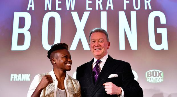 New deal: Nicola Adams and Frank Warren in London yesterday