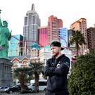 Carl Frampton pictured on the Las Vegas strip ahead of Saturday's WBA featherweight title rematch against Leo Santa Cruz at the MGM Grand Hotel (Photo by William Cherry/ Press Eye)