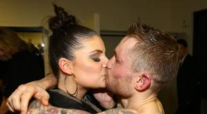 Carl Frampton and Scott Quigg - World Super-Bantamweight title. Carl Frampton celebrates with a kiss for his wife Christine