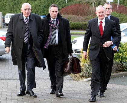 From left, the Rev Ian Paisley, Ian Paisley Jr, Martin McGuinness and Gerry Kelly