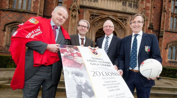 Roaring success: Trevor Ringland, David Jones Pro Vice Chancellor Queen's University, Nigel Carr and David Irwin gathered to launch the QUBRFC Gala dinner that will honour the university club's 20 British and Irish Lions later this year