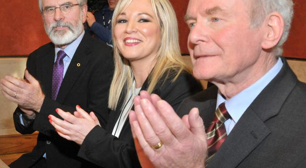 Gerry Adams with Michelle O'Neill and Martin McGuinness earlier this week