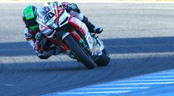 Bad day: Eugene Laverty crashed and also recorded disappointing results on the time sheets during testing at Jerez