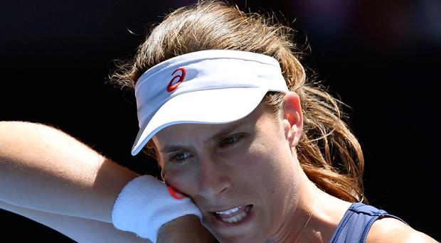 Down and out: Johanna Konta during her quarter-final loss