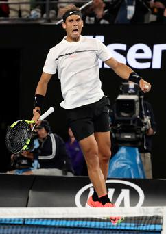 In the mix: Rafael Nadal celebrates reaching the Australian Open semi-finals