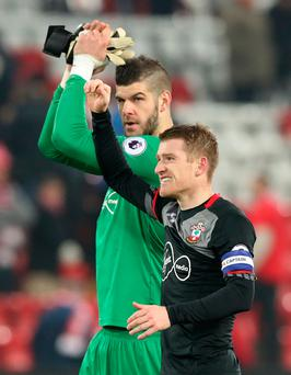 Southampton's Steven Davis celebrates after the EFL Cup Semi Final, Second Leg match at Anfield, Liverpool. Pic:PA Wire