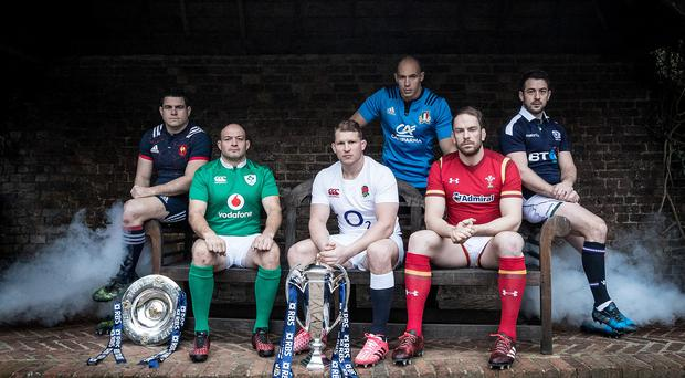Leaders: Captains Guilhem Guirado of France, Rory Best of Ireland, England's Dylan Hartley, Sergio Parisse of Italy, Alun Wyn Jones of Wales and Scotland's Greig Laidlaw at the launch of 2017 RBS Six Nations Championship at The Hurlingham Club in London