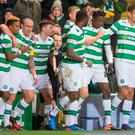 Head bhoy: Celtic's Dedryck Boyata (second right) celebrates scoring his side's winner last night