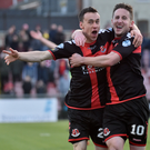 Big goal: Michael Carvill (right) with Paul Heatley after netting the winner against Cliftonville