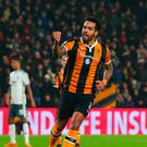 Tom Huddlestone of Hull City celebrates as he scores their first goal from the penalty spot during the EFL Cup Semi-Final second leg match between Hull City and Manchester United at KCOM Stadium on January 26, 2017 in Hull, England. (Photo by Alex Livesey/Getty Images)
