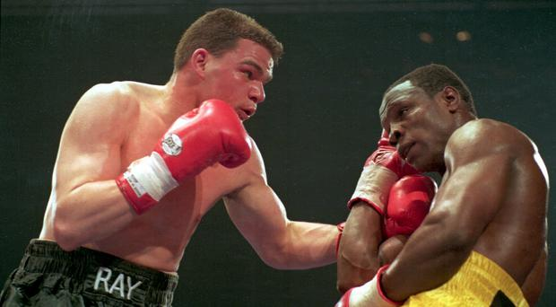 Blast from the past: The last time Showtime Sports came to Belfast was when local boy Ray Close (left) took on Chris Eubank for the world super-middleweight title in the mid-1990s