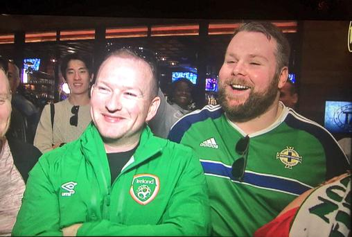 The Frampton fans in different shades of green
