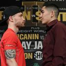 Face off: Carl Frampton and Leo Santa Cruz during last night's press conference at the MGM Grand Hotel and Casino, Las Vegas