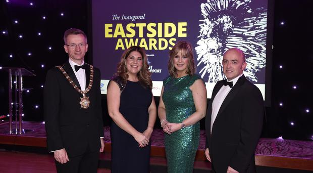 26/1/17: ​Lord Mayor of Belfast Cllr Brian Kingston joins Michelle Hatfield of sponsor George Best Belfast City Airport, host BBC television presenter Tara Mills and Jonathan McAlpin of East Belfast Enterprise at the inaugural Eastside Awards. Picture: Michael Cooper