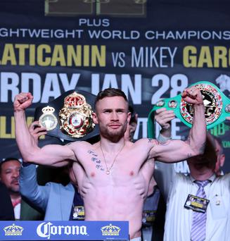 Ready to rumble: Carl Frampton at last night's weigh-in