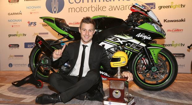Cornmarket Irish Motorcyclist of the Year, Jonathan Rea pictured after receiving the Enkalon Joey Dunlop trophy. PICTURE BY STEPHEN DAVISON