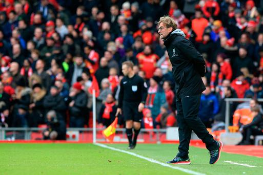 Jurgen Klopp on the touchline during Liverpool's defeat to Wolves. Pic: Peter Byrne/PA Wire.