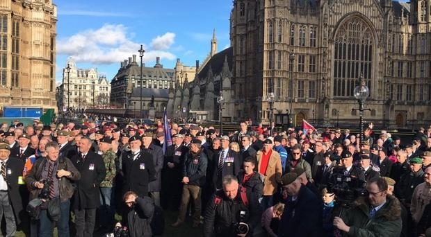 Hundreds of ex-soldiers took part in a Justice for Northern Ireland Veterans march of Downing Street