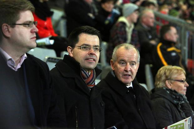 Bank of Ireland Dr McKenna Cup Final Tyrone v Derry at Pairc Esler, Newry. Rt Hon James Brokenshire MP, Secretary of State for Northern Ireland with Michael Hasson, President Ulster Council, GAA. Picture by Andrew Paton/Press Eye