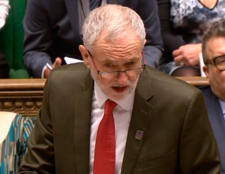 Jeremy Corbyn speaking during PMQ's at the House of Commons last week. Photo: PA