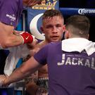Fighting talk: coach Shane McGuigan gives Frampton encouragement between rounds
