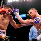 Fight for sore eyes: Carl Frampton and Leo Santa Cruz go toe to toe in Las Vegas and The Jackal hopes to do it all again with the Mexican superstar in Belfast